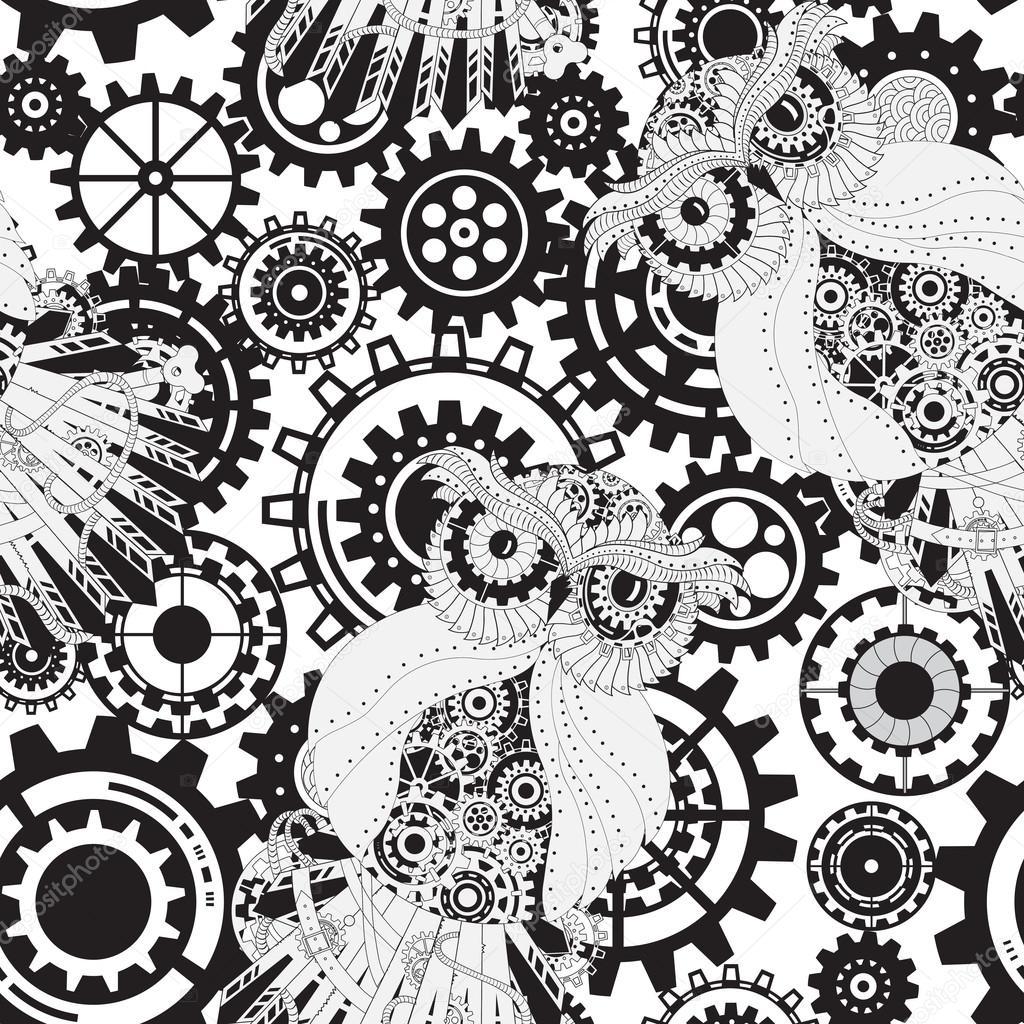 Black gears, steampunk seamless pattern. Steampunk outline vector owl with gear. Metallic steam punk owl