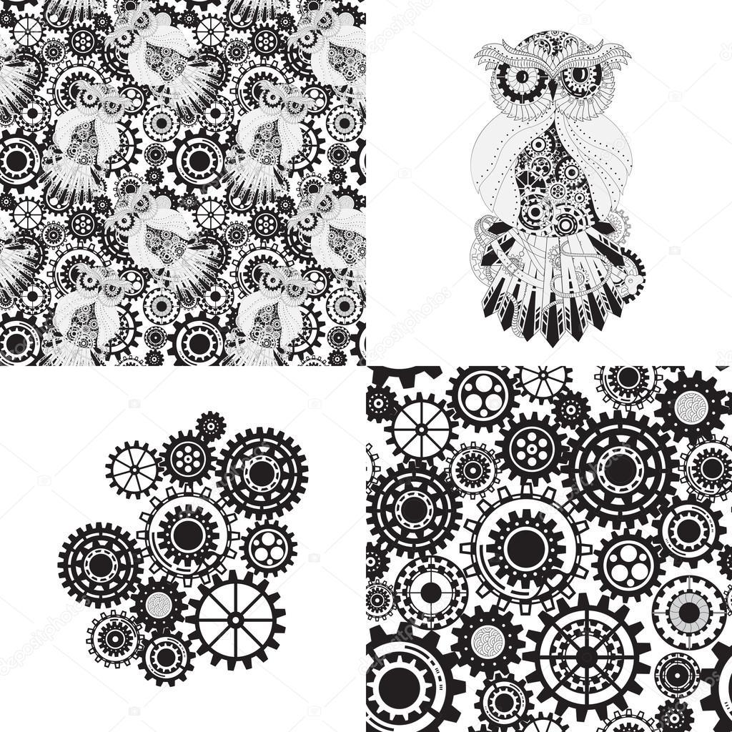 Black gears, steampunk seamless pattern. Steampunk outline vector owl with gear. Metallic steam punk owl. Set of steampunk seamless gear and owl pattern, abstract steampunk owl and gears.