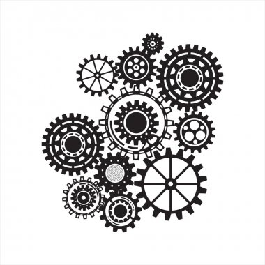 Business mechanism concept. Abstract background with connected gears and icons for strategy, service, analytics, research, seo, digital marketing, communicate concepts.
