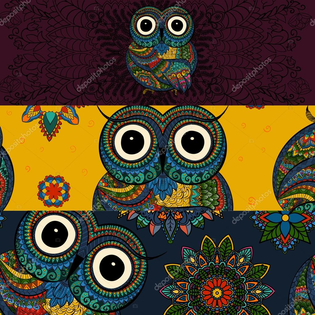 Vector set of  illustrations of ornamental owl. Bird illustrated in tribal. Good for social media banners