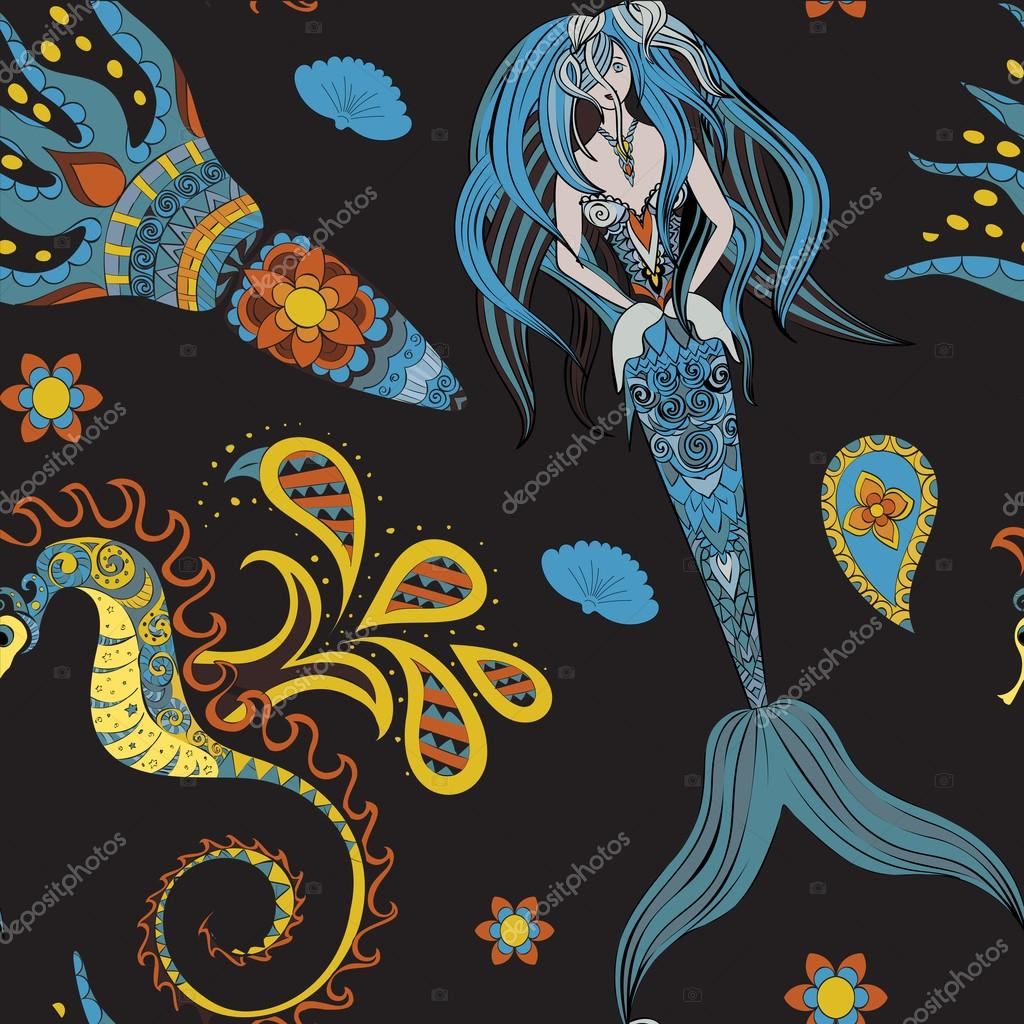 Hand drawn Ornamental Mermaid, sea-horse and calmar, seamless, Mermaid dark pattern, Girl with tall in tribal. Doodle Mermaid