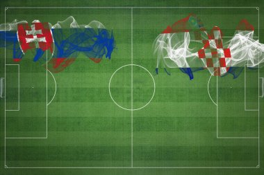 Slovakia vs Croatia Soccer Match, national colors, national flags, soccer field, football game, Competition concept, Copy space