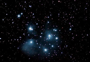 Pleiades Famous Seven Sisters Maia, Electra, Taygete, Alcyone, Celaeno, Sterope, Merope beautiful night sky