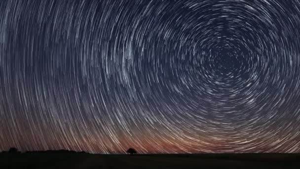 4K Star Trails Stunning Cosmos Polaris North Star at center as earth rotates on axis. Beautiful Star Trails Time-lapse Stunning Cosmos. Beautiful night sky