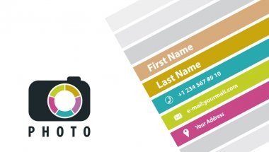 Photographer business card in a flat style.