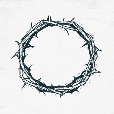 Crown of thorns Jesus Christ. Sketch, handmade