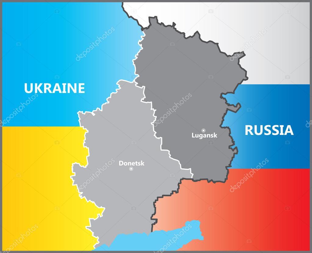 Lugansk and Donetsk between Russia and Ukraine. Map boundaries.