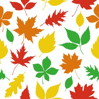 seamless pattern autumn leaves silhouettes