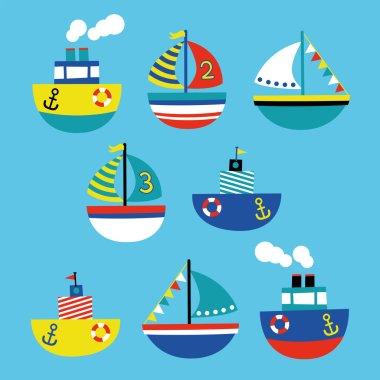 boat children style illustration set