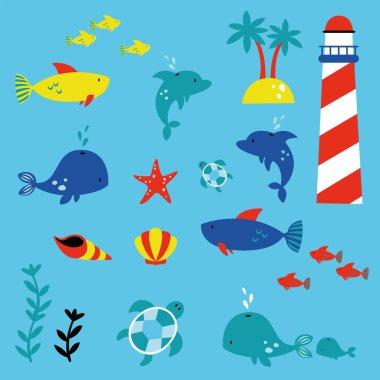 marine life children style illustration set
