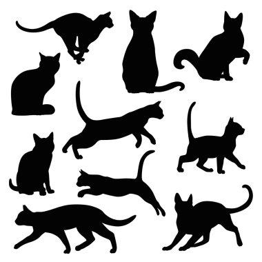 cat silhouette vector set