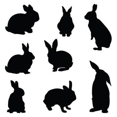 rabbit silhouette illustration set