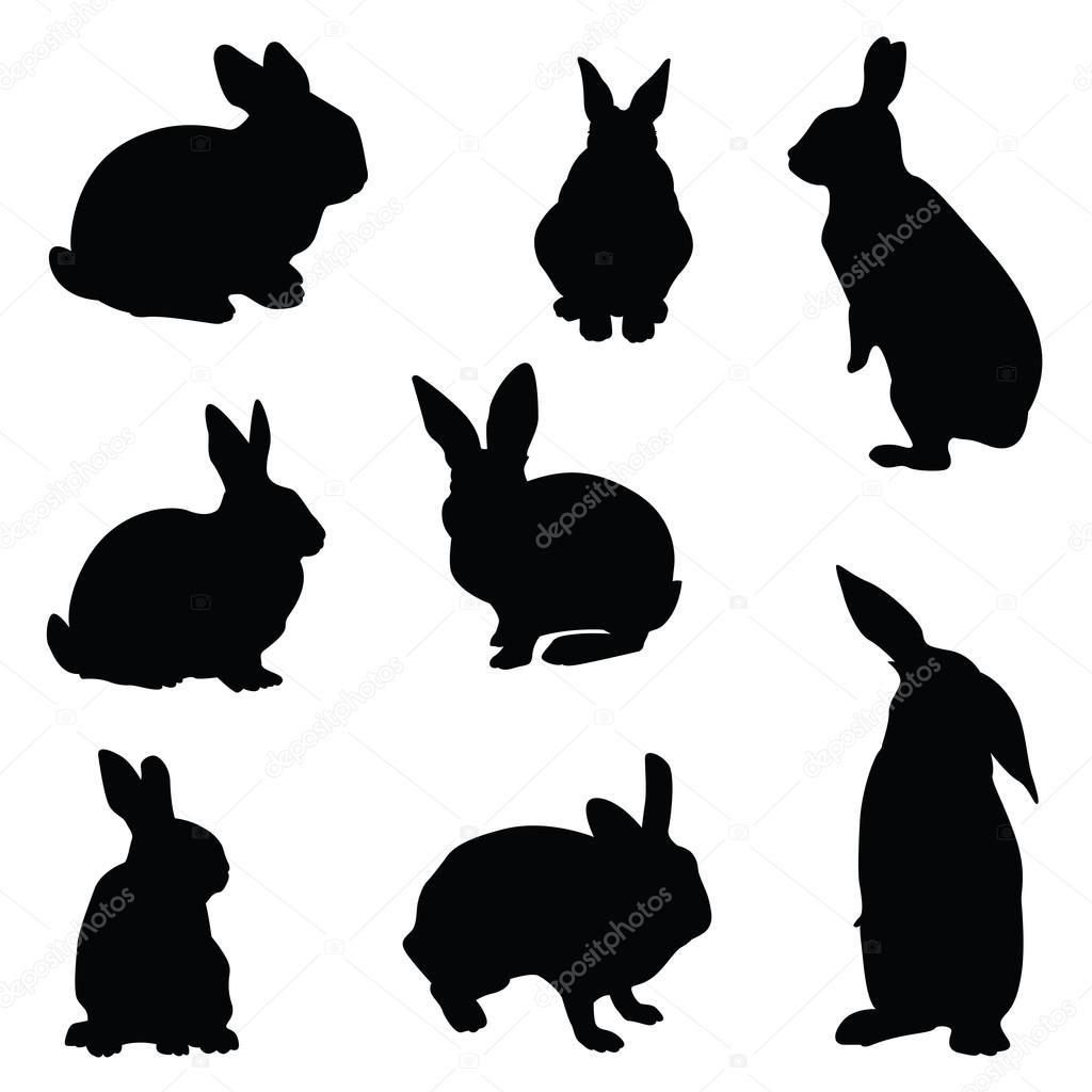 rabbit silhouette illustration set � stock vector