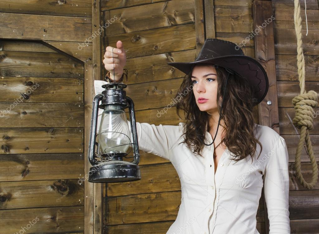 Girl with lamp cowboy