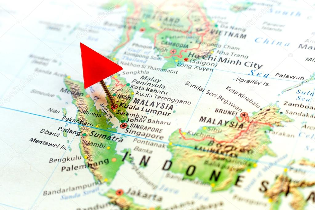 World map with pin on capital city of malaysia kuala lumpur world map with pin on capital city of malaysia kuala lumpur stock photo gumiabroncs Images