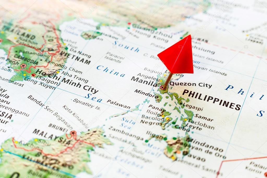Manila Philippines World Map.World Map With Pin On Capital City Of Philippines Manila Stock