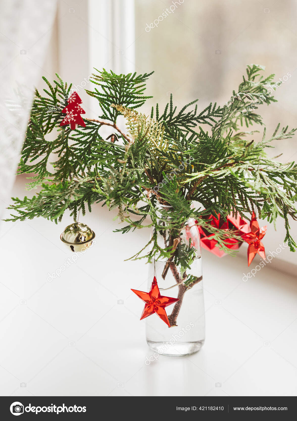 Vase Decorated Thuja Branches Stands Window Sill Sustainable Alternative Christmas Stock Photo C Aksenovko 421182410