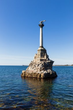 Monument to scuttled ships to obstruct entrance to Sevastopol bay. One of symbols of Sevastopol.Crimea.