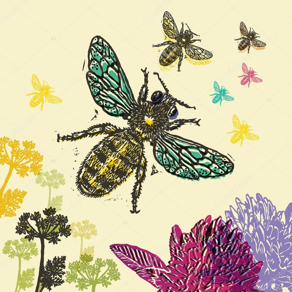Vector illustrated of colorful flying bees.