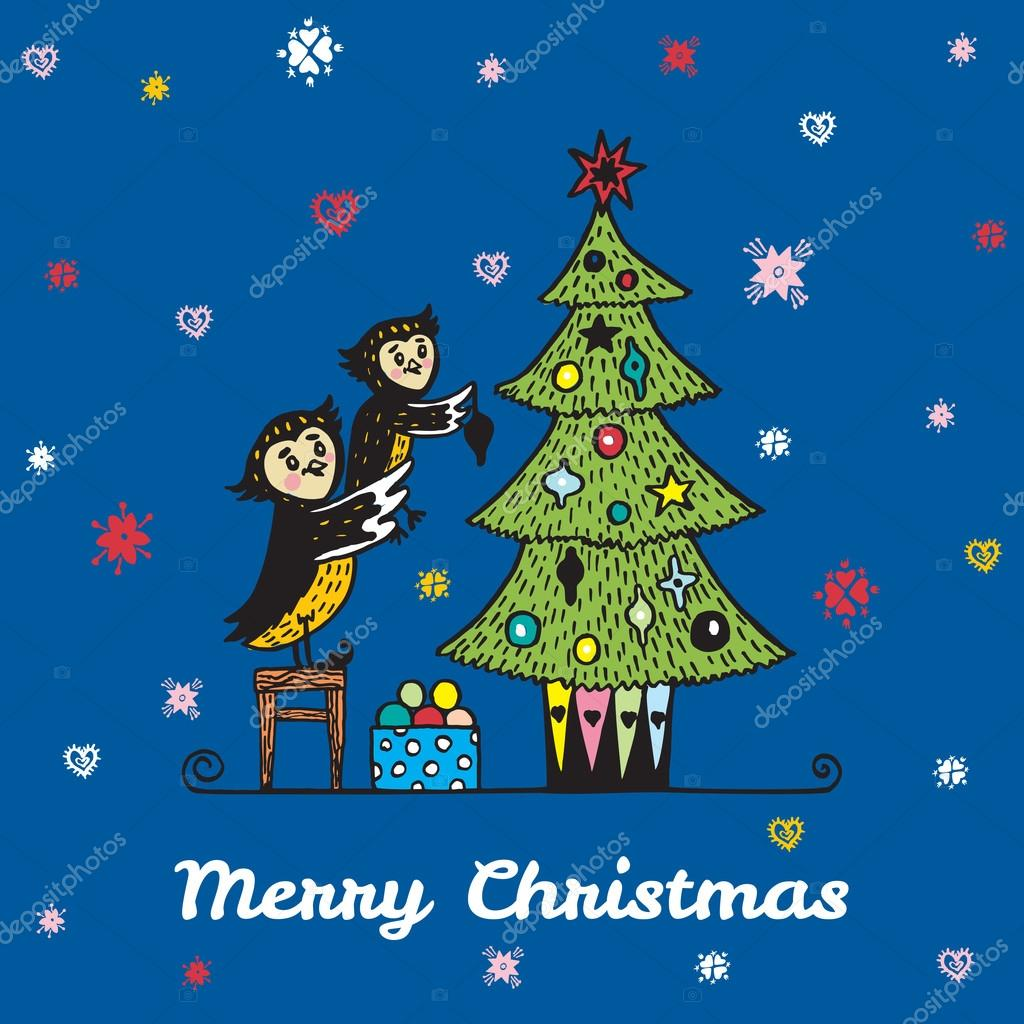 christmas card with hand drawn owl parent and child decorating a christmas tree stock