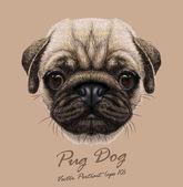 Mopsz kutya vektor portréja