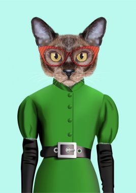 Cat girl dressed up in retro style. Vector Illustration of cute anthropomorphic cat wearing classic dress, belt, gloves, and sunglasses. Realistic Fashion stylish animal portrait isolated on blue back