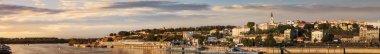 Sunset Panorama Of Belgrade With Tourist Port On Sava River Kale