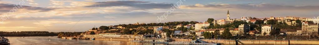 Sunset Panorama Of Belgrade With Tourist Port On Sava River Kale