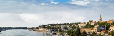 Belgrade Tourist Port on Sava River with Kalemegdan Fortress and St. Michael's Cathedral Bell Tower