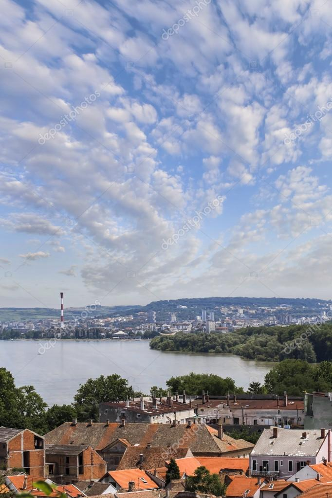 Panoramic View From Gardos Lookout on River Danube, Town of Zemun and Belgrade, Serbia