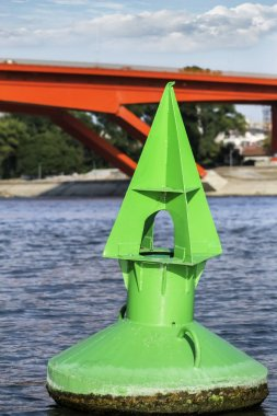 Green Buoy Anchored In Sava River At Gazelle Bridge  - Belgrade
