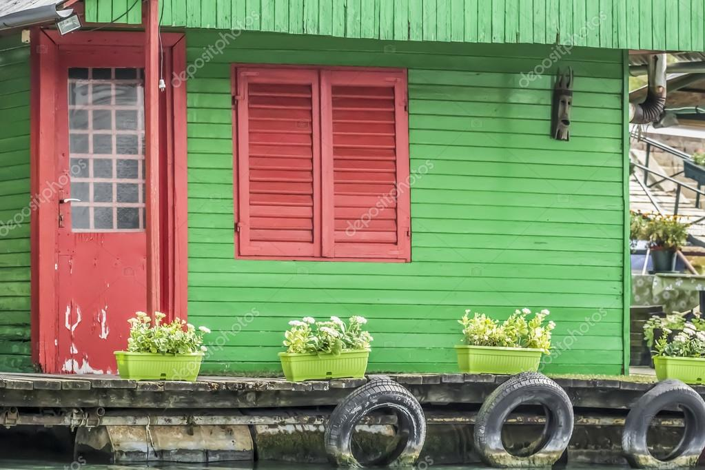 Old Wooden Green-Red Summer Raft Hut On Sava River - Detail