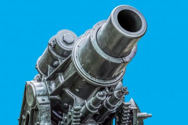 WWI Heavy Siege Howitzer Gun - Skoda 305 mm Model 1911 Isolated on Blue Background