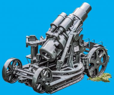 WWI Heavy Siege Howitzer Gun Skoda 305 mm Model 1911 Isolated on Blue Background