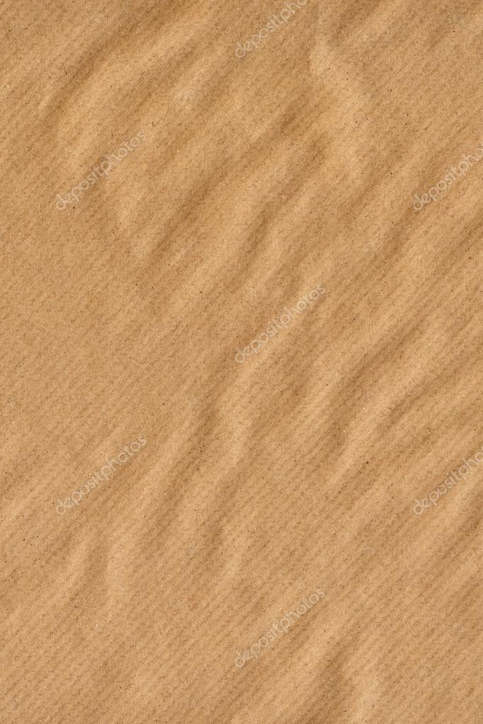 Recycle Striped Brown Kraft Paper Coarse Crumpled Grunge Texture