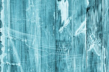 Old Wooden Laminated Panel Cyan Stained Varnished Cracked Scratched Peeled Grunge Texture
