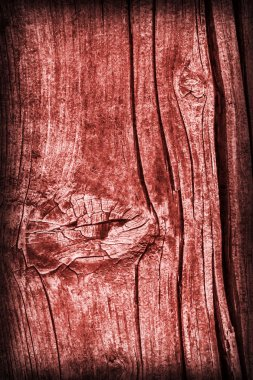 Old Knotted Weathered Cracked Rotten Wood Stained Red Vignette Grunge Texture