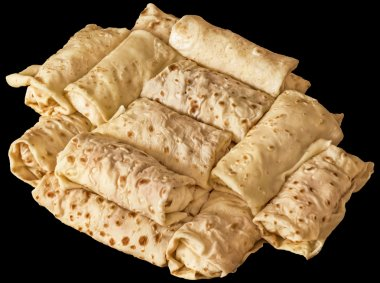 Bunch of Cheese and Ham Pancake Rolls Isolated on Black Background