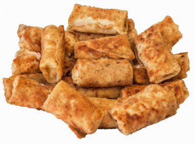 Bunch of Breaded Cheese and Ham Pancake Rolls Isolated on White Background