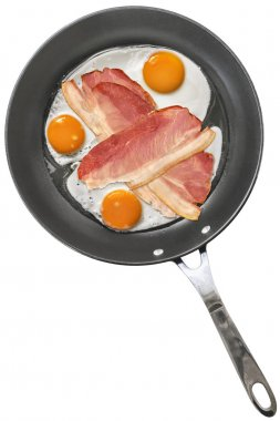 Fried Eggs with Pork Ham Rashers in Teflon Frying Pan Isolated on White Background