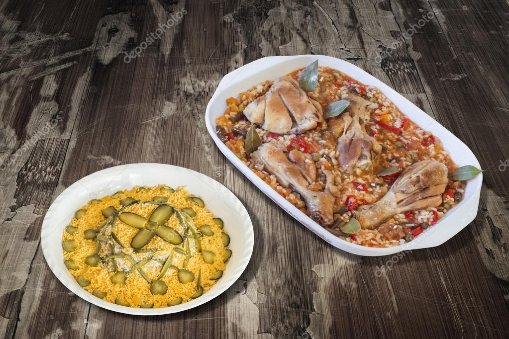 Vegetable Stew with Chicken Meat and Garnished Russian Salad on Old Wooden Table