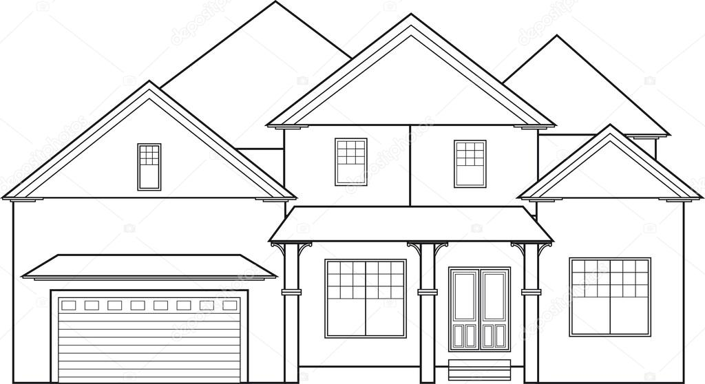 A big two storey house without color stock vector for Casa moderna para colorear