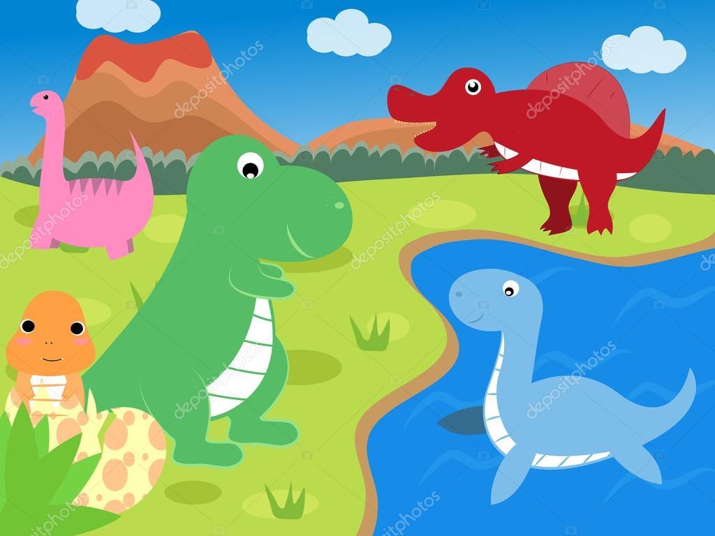 dinosaurio de dibujos animados de color — Archivo Imágenes ...