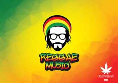 Reggae music icon.Vector illustration of rastafarian man
