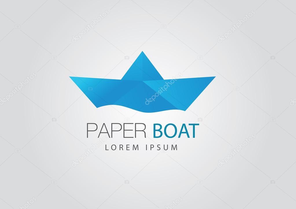 Logo De Barco Papel Origami Archivo Imagenes Vectoriales