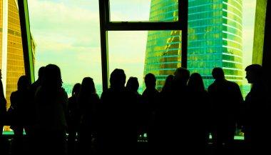 crowd inside of modern building
