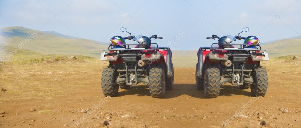 Quad bikes with sport helmets