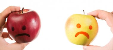 Two  apples smiling and crying