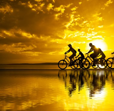 friends on bicycles at sunset