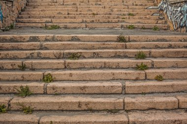 Stairs made of a red granite
